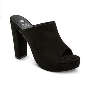 Anthro Faryl byfarylrobin black suade heel mule 9